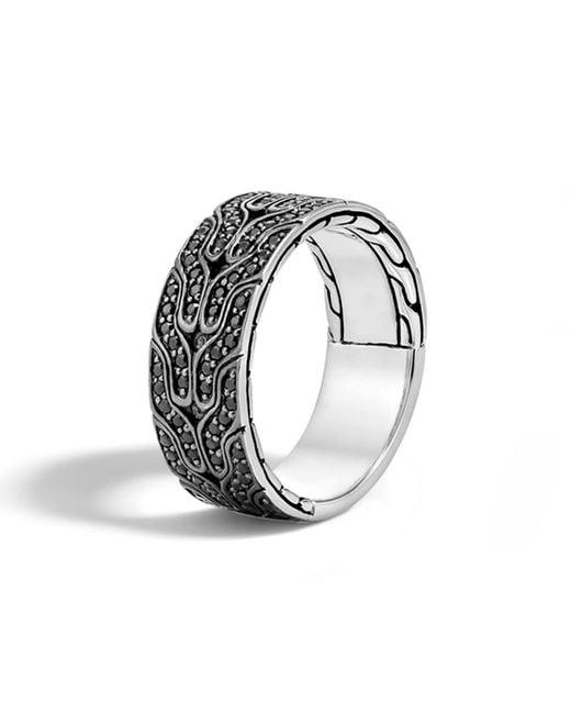 John Hardy | Metallic Men's Classic Chain Black Lava Sapphire Band Ring for Men | Lyst