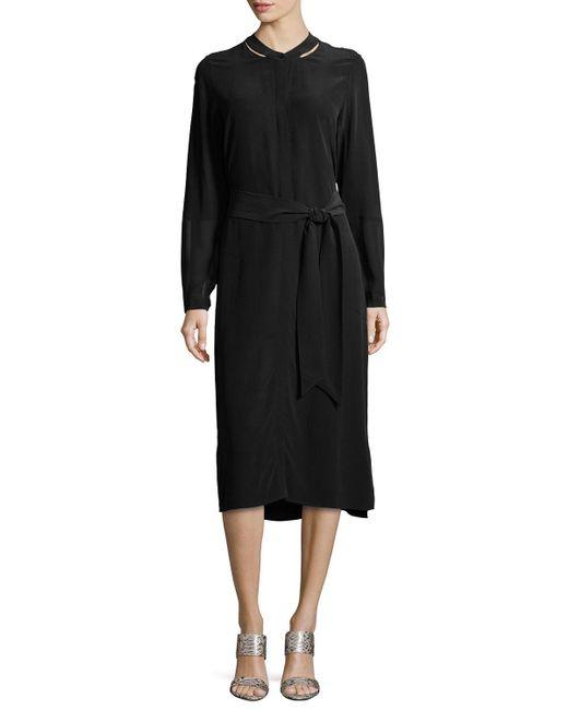 Go> By Go Silk | Black Long-sleeve Silk Shirtdress | Lyst