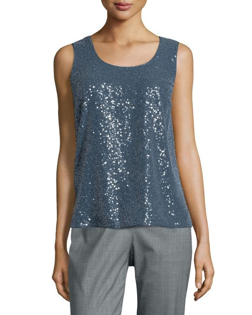 Lafayette 148 New York | Blue Cleo Sleeveless Sequined-front Blouse | Lyst