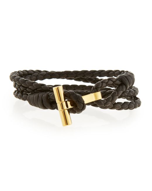 tom ford s leather t wrap bracelet in black for
