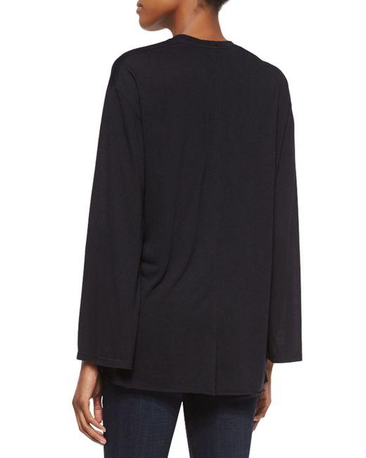 Helmut Lang | Black Modal Long-sleeve V-neck Top | Lyst