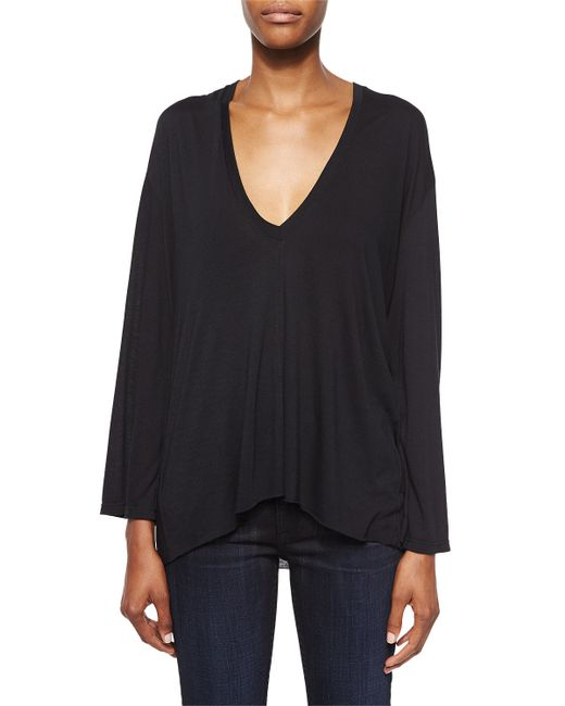 Helmut Lang | Black Modal Long-sleeve V-neck Top | Lyst