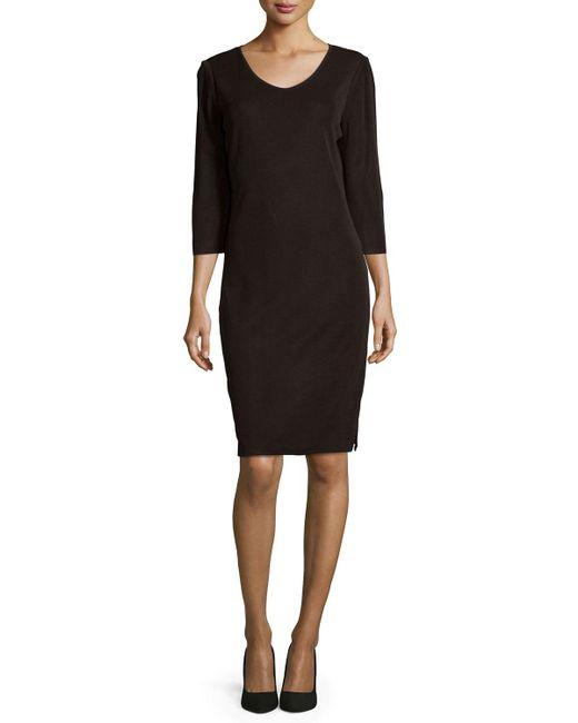 Misook | Brown 3/4-sleeve V-neck Dress | Lyst