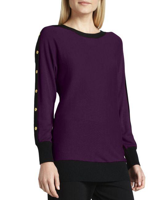 Joan Vass | Purple Colorblock Button-sleeve Sweater | Lyst
