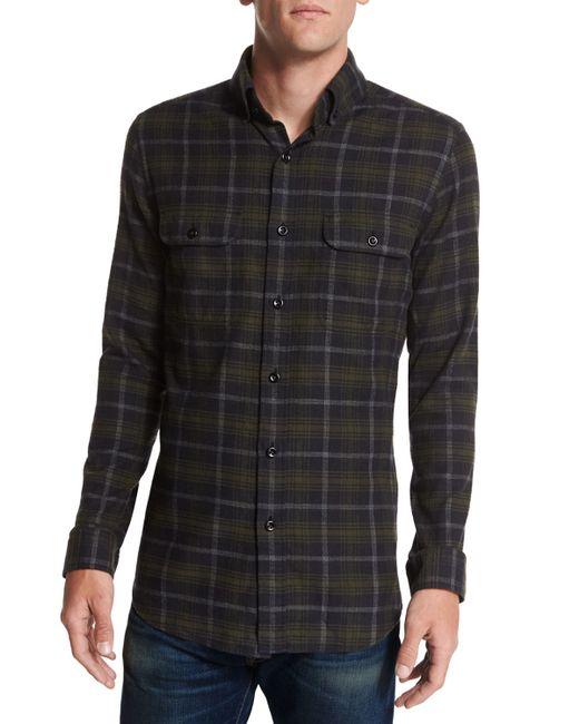 Tom Ford Plaid Flannel Sport Shirt In Black For Men Black