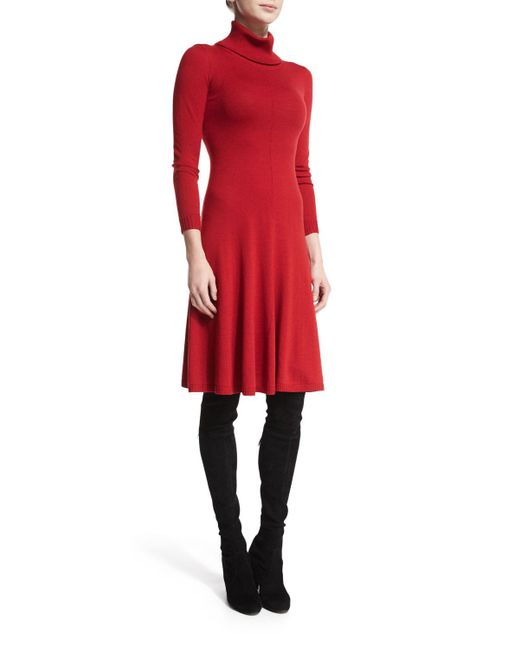 Lafayette 148 New York | Red Long-sleeve Merino Turtleneck Dress | Lyst