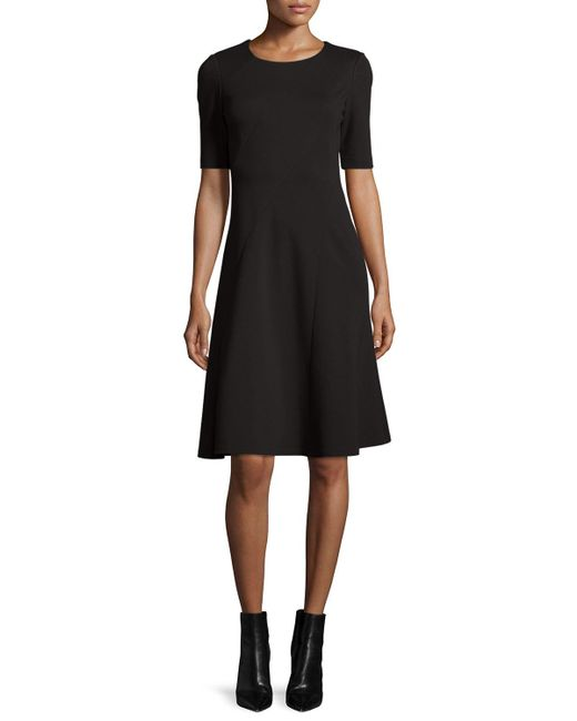 Lafayette 148 New York   Black Half-sleeve Fit-and-flare Dress   Lyst