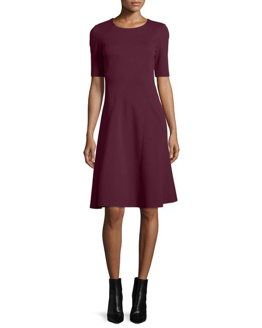 Lafayette 148 New York | Purple Short-sleeve Fit & Flare Dress | Lyst