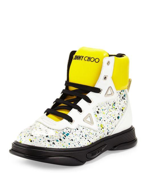 jimmy choo galaxy paint splatter leather high top sneaker