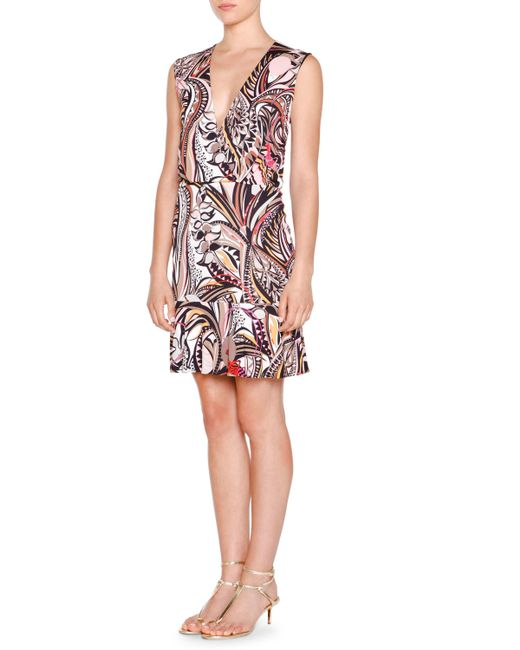 Emilio Pucci | Beige Sleeveless Faux-wrap Printed Dress | Lyst
