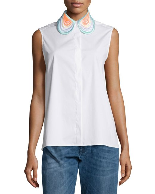 Christopher kane sleeveless embroidered collar blouse in for Sleeveless white shirt with collar