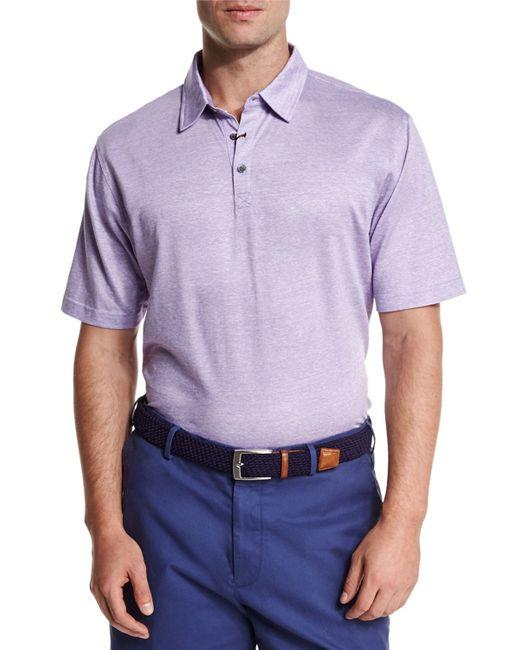 Peter millar linen blend short sleeve polo shirt in purple for Peter millar polo shirts
