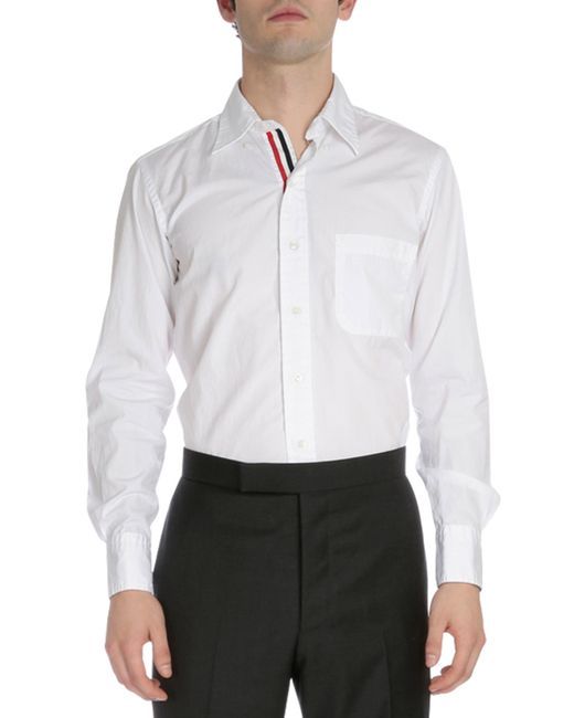 Thom browne long sleeve oxford shirt w striped placket in for Thom browne shirt sale