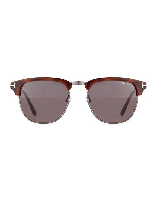 tom ford henry shiny gunmetal half rim sunglasses in brown. Black Bedroom Furniture Sets. Home Design Ideas