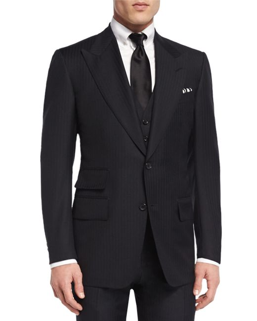 Tom ford Windsor Herringbone Three-Piece Suit in Black for ...