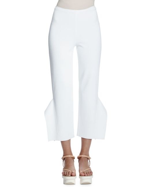 Stella McCartney | White Strong Shapes Ruffled Cropped Pants | Lyst