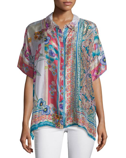 Johnny Was Ajamite Printed Silk Button Front Blouse In