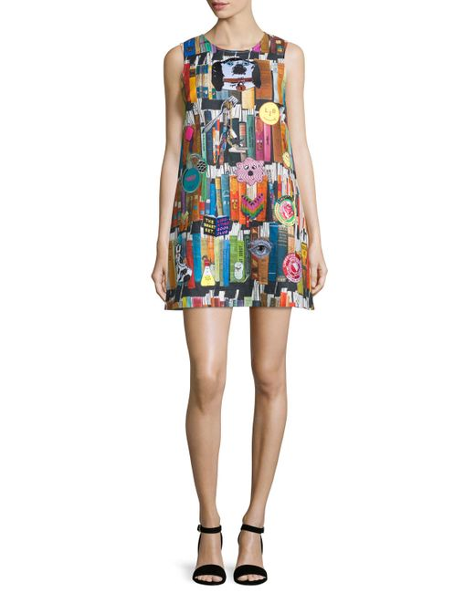 Book Cover Watercolor Dress : Libertine book print cashmere shift dress in multicolor lyst