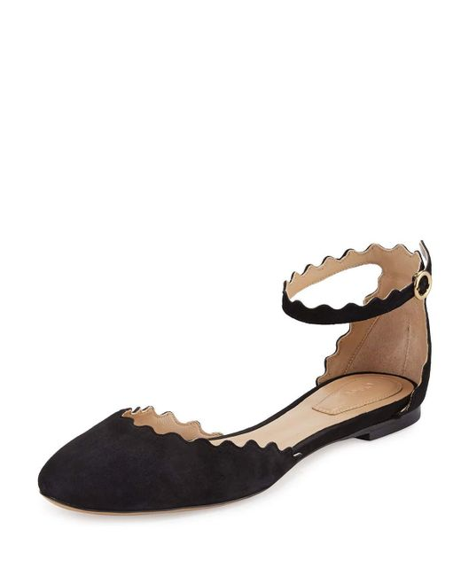 Chloé | Blue Lauren Scalloped Suede Ankle-strap Flat | Lyst