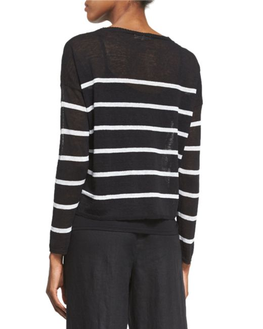 Eileen Fisher Long Sleeve Striped Box Crop Top In