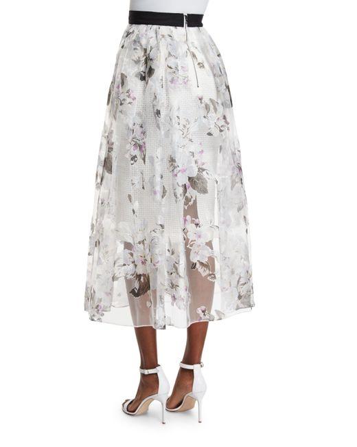 sachin babi floral print a line midi skirt in gray lyst