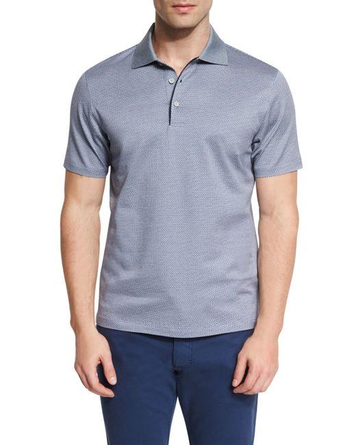 Ermenegildo zegna basketweave pattern short sleeve polo for Zegna polo shirts sale