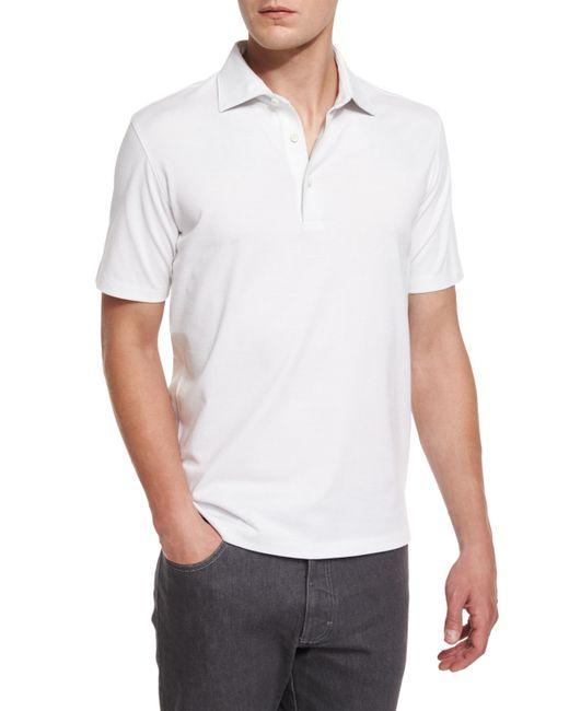Ermenegildo zegna short sleeve polo shirt in white for men for Zegna polo shirts sale