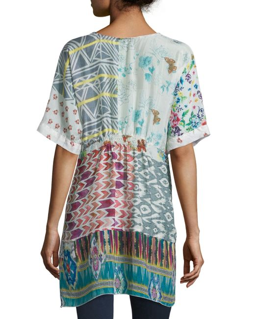 Johnny was butterfly half sleeve printed silk tunic in for Johnny was silk shirt