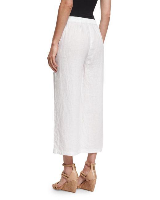 Eileen Fisher Organic Linen Wide Leg Cropped Pants In