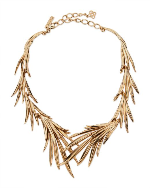 Oscar De La Renta Palm Leaf Statement Necklace In Metallic