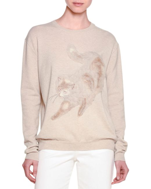 Stella McCartney | Natural Long-sleeve Cat-embroidered Sweater | Lyst