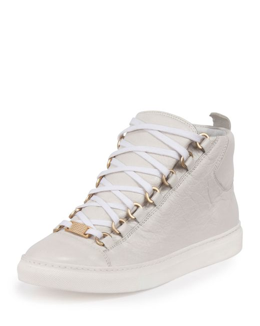 balenciaga arena leather high top sneaker in gray save 10 lyst. Black Bedroom Furniture Sets. Home Design Ideas