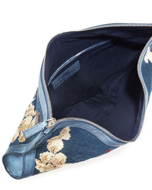 Alexander mcqueen de manta floral embroidered denim clutch
