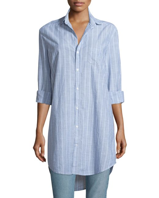 Frank Eileen Mary Striped Chambray Shirtdress In Blue