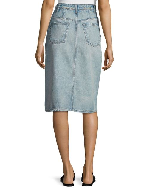 helmut lang faded denim pencil skirt in blue light blue