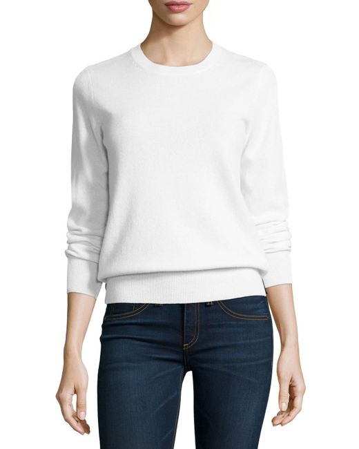 Neiman Marcus | White Long-sleeve Crewneck Cashmere Sweater | Lyst