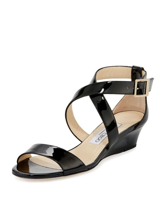 Jimmy Choo | Black Chiara Patent Crisscross Wedge Sandal | Lyst