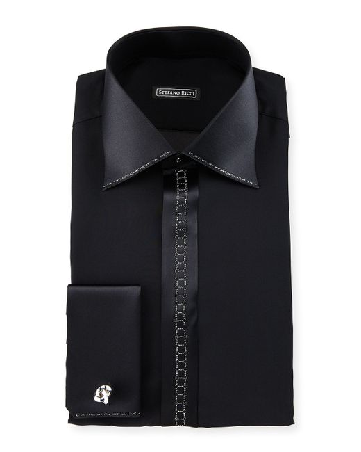 Stefano ricci crystal placket silk french cuff tuxedo for Black tuxedo shirt for men