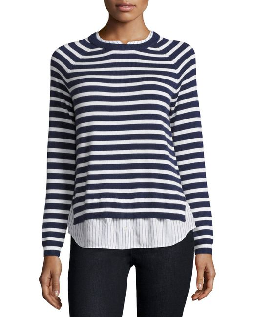 Joie zaan striped sweater shirt combo top in blue lyst for Sweater and dress shirt combo