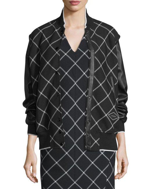 Rag & Bone   White Edith Windowpane Varsity Jacket   Lyst