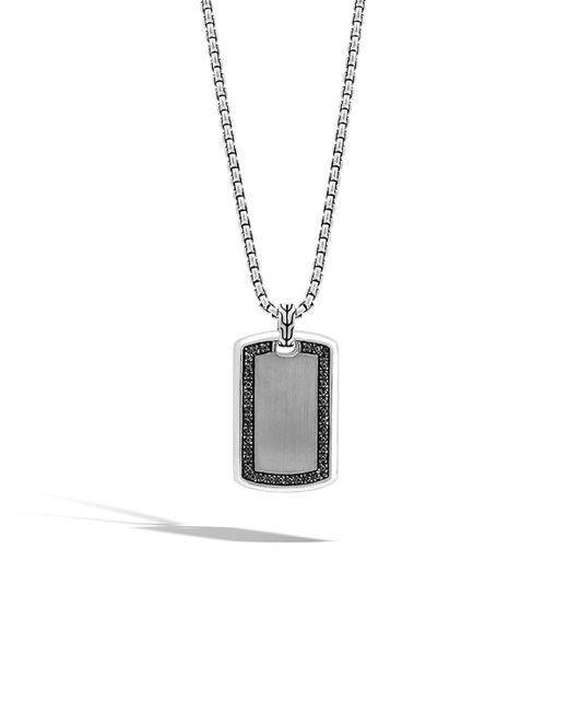 John Hardy | Men's Large Lava Black Sapphire Dog Tag Necklace for Men | Lyst
