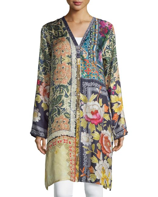 Johnny was shiro printed button front silk tunic lyst for Johnny was silk shirt