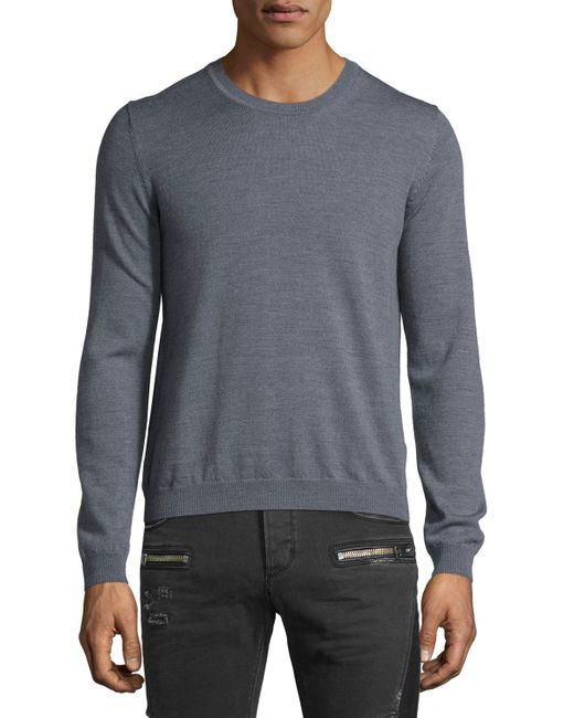 just cavalli long sleeve crewneck wool sweater in gray for men lyst. Black Bedroom Furniture Sets. Home Design Ideas