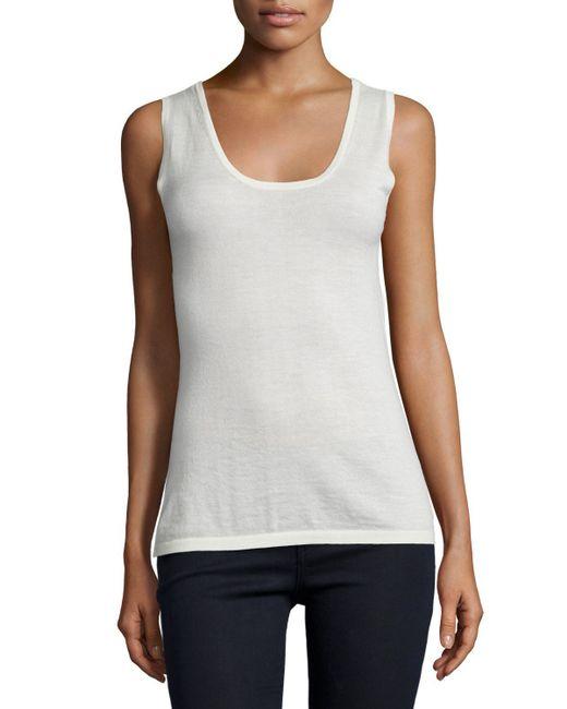 Neiman Marcus | White Modern Cashmere Scoop-neck Tank | Lyst