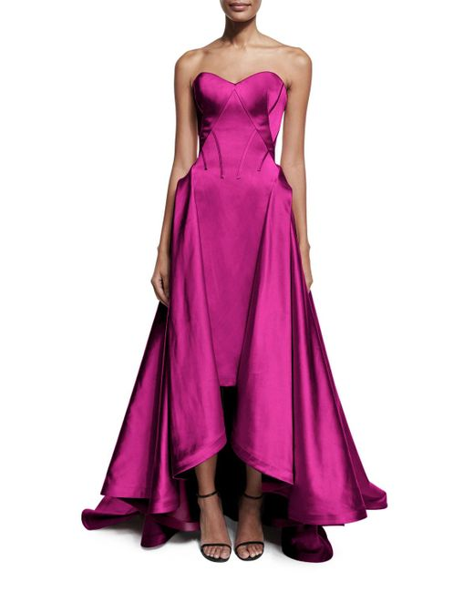 Zac Posen | Purple Strapless Pleated High-low Gown | Lyst