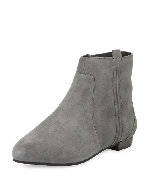 Delman | Gray Wiley Flat Suede Ankle Booti | Lyst