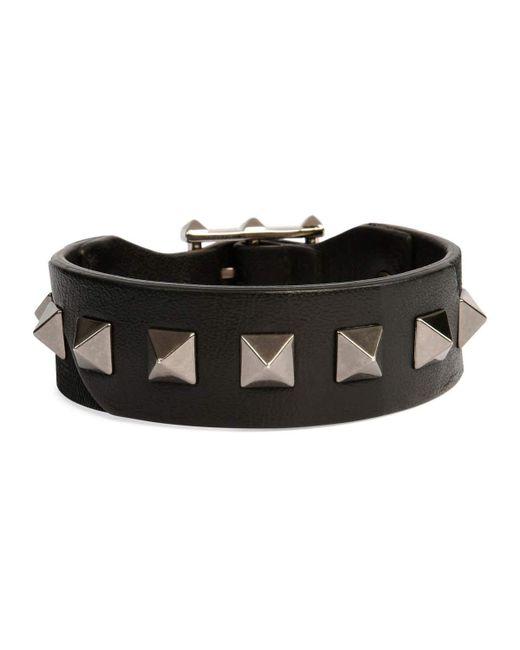 Valentino | Black Men's Rockstud Camo Leather Bracelet for Men | Lyst