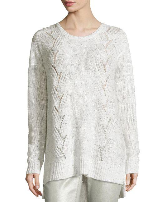 NYDJ | White Sparkle Embellished Oversized Crewneck Sweater | Lyst
