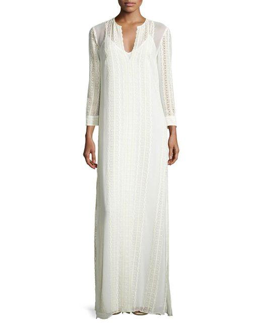 Elizabeth and James | White Mia Silk Lace-trim Maxi Dress | Lyst