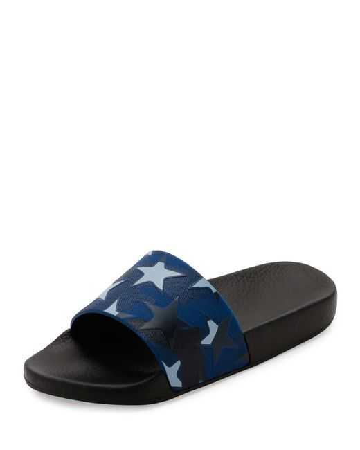 Valentino | Blue Pvc Stars Rubber Slide Sandal for Men | Lyst